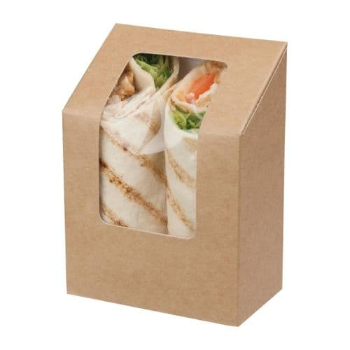 FA391 Colpac Zest Compostable Kraft Tuck-Top Wrap Packs With Acetate Window
